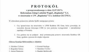 """Bogdanka"": Nie chcą Kodeksu GK Enea. Grożą strajkiem"