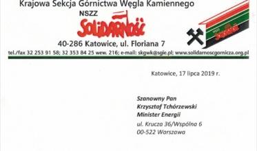 """Górnicza """"Solidarność"""" żąda zwołania Zespołu Trójstronnego"""