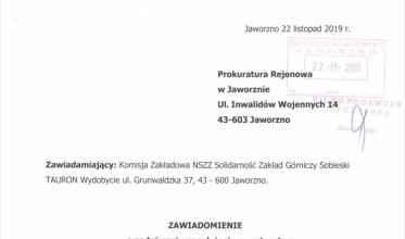 """""""Solidarność"""" z """"Sobieskiego"""" zawiadamia prokuraturę"""